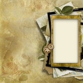 Vintage background with old photo-frame — Stock Photo