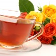 Tea and roses — Stockfoto