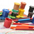 Color pencils and paints — Stock Photo #10045870