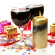Stock Photo: Wine and candle