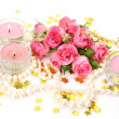 Stock Photo: Pink roses and candles