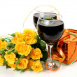 Foto de Stock  : Wine and roses