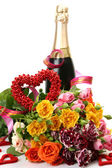 Bouquet of fine roses and wine — Stock Photo