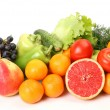 Stock Photo: Ripe fruit and fresh vegetables