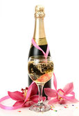 Champagne and pink orchids — Stock Photo