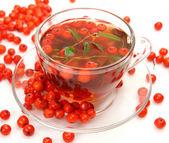 Tea and berries — Stock Photo