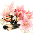 Decorative cosmetics and lilies — Stok fotoğraf