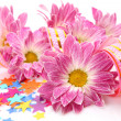 Pink flowers and streamer — Stock Photo #10441733