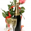 Stock Photo: Pink roses and champagne