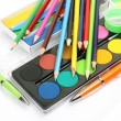 Stock Photo: Paints and pencils