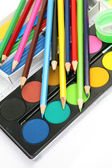 Paints and pencils — 图库照片