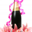 Pink lilies and champagne — Stock Photo #9783437