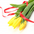Stock Photo: Yellow tulips and tape