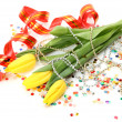 Tulips and streamer — Stock Photo #9792357