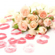 Roses and prints of lips — Stockfoto #9795917