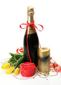 Champagne and candle — Stock Photo