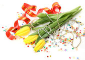 Tulips and streamer — Stock Photo
