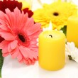 Flowers and candles — Stockfoto
