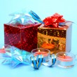 Stock Photo: Box with gift and candles