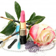 Decorative cosmetics and rose — Foto Stock