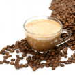 Black coffee and coffee grains — 图库照片
