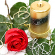 Fine rose and candle — Stock Photo #9904781