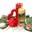 Stock Photo: Fine rose and candle