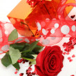 Stock Photo: Rose and gift