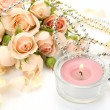 Stock Photo: Fine roses and candle