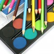 Color pencils and paints — 图库照片