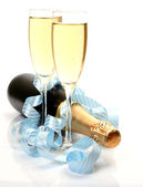 Champagne and tape — Stock Photo