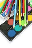 Color pencils and paints — Стоковое фото