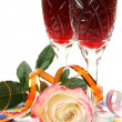 Wine and rose — Stok fotoğraf