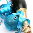 Stock Photo: Champagne and New Year's ornaments