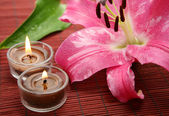 Pink lily and candles — Stock Photo
