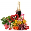 Champagne and bouquet of roses - Stock Photo