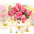 Pink roses and candles — Stock Photo #9933394