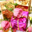 Boxes with gifts and roses - Stock Photo