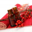 Aromatic oils and candles — Stock Photo