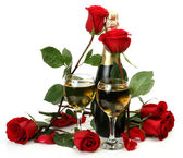 şampanya ve güller — Stok fotoğraf