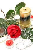 Fine rose and candles — Stock Photo