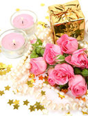 Boxes with gifts and roses — Stock Photo
