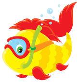 Fish diver — Stock Vector
