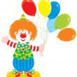 Stock Vector: Circus clown with balloons