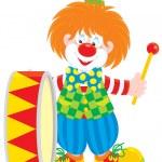 Circus clown drummer — Stock Vector #10228814