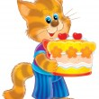 Cat with cake — Stock Photo