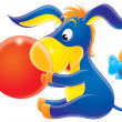 Donkey with a ball — Stock Photo