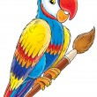 Parrot on the pencil — Stock Photo