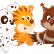 Puppy, tiger and owl — Stock Photo