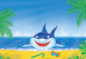 Great white shark on a beach — Stock Photo